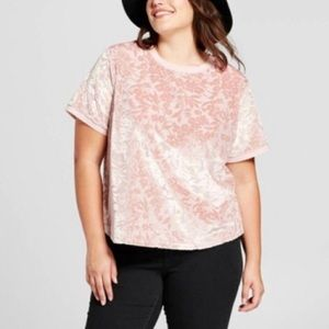 A NEW DAY ll Blush Pink Floral Velvet Brocade Top